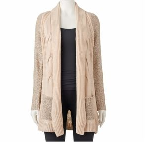 Candie's soft pink cable knit cardigan